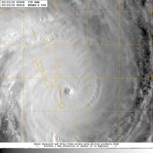 Cyclone Pam seen on 13 March 2015 Image courtesy of The US Naval Research Laboratory