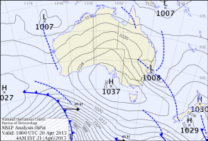 Analysis chart from Austrlian Bureau of Meteorology