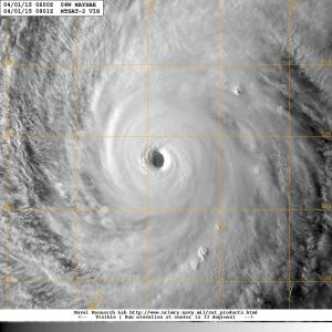 Typhoon Maysak on 1 April 2015. Image courtesy of the US Naval Research Laboratory