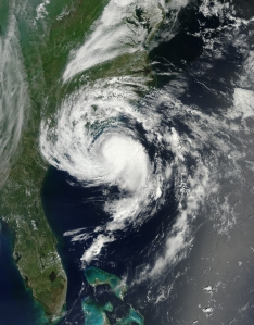 Tropical storm Ana on 8 May 2015 as it approached the South Carolina coast. Credit: NASA Earth Observatory