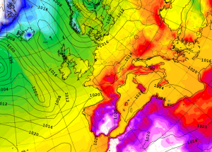 Met Office Global Model mean sea level pressure and temperature