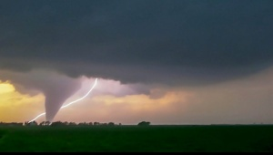 Tornado and lightning, Rozel, Kansas May 2013
