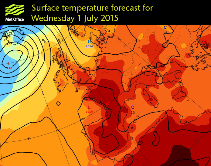 Met Office Map Hotter weather for the start of July | Official blog of the Met  Met Office Map