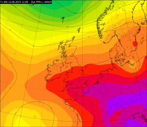 Partial thickness values from the Met Office Global Model for 1200Z Friday 12 June
