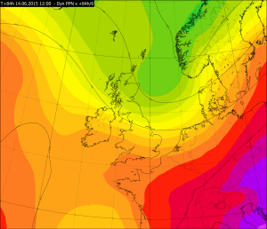 Partial thickness values from the Met Office Global Model for 1200Z Sunday 14 June