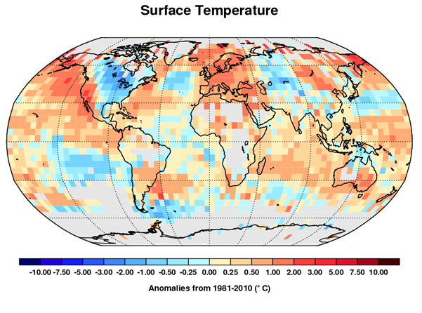 Annual average anomalies (difference to normal) for 2014 for surface temperature from the Met Office's global temperature dataset, HadCRUT4 relative to a 1981-2010 climatology period.