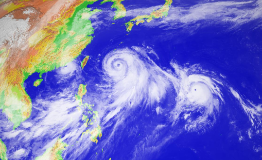 Left to right - Typhoons Linfa, Chan-hom and Nangka on 9 July 2015. Image courtesy of The National Institute of Informatics.