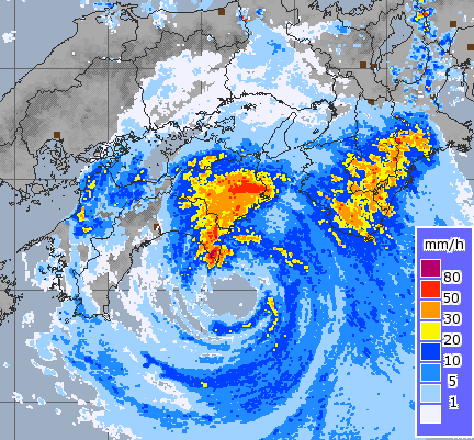 Typhoon Nangka Radar Image at 1255 (UK time) 16 July 2015 showing rainfall intensity. Image courtesy of The Japan Meteorological Agency.