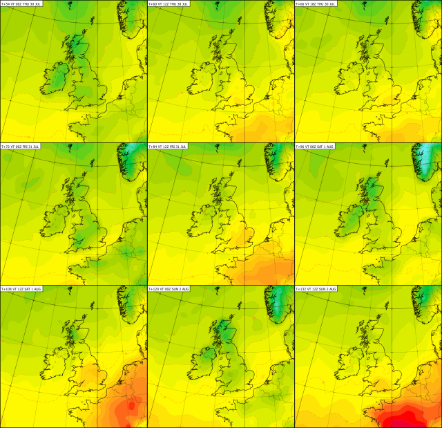 Colour chart showing temperature change over the next few days, with cooler air (green) making way for warmer conditions (yellow/orange).