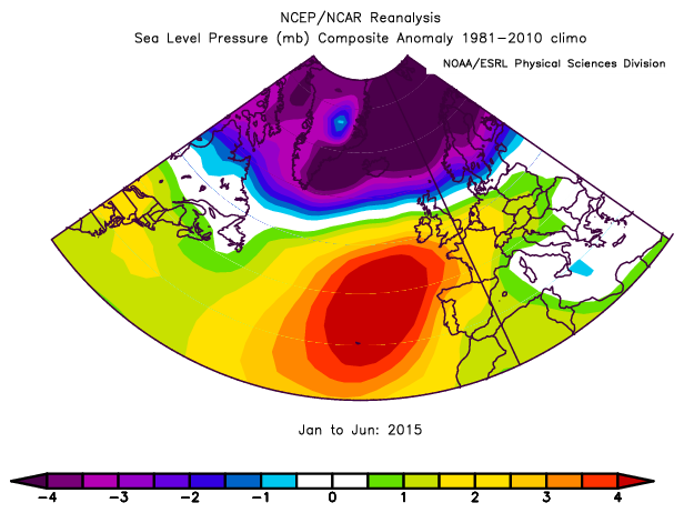Pressure anomaly (difference from 1981-2010 average) in mb for the period January to June 2015 and January to June 2011, based on NCEP / NCAR Reanalysis data. Image provided by the NOAA/ESRL Physical Sciences Division.