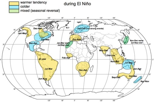 This map shows the effect El Nino has on temperatures around the globe.