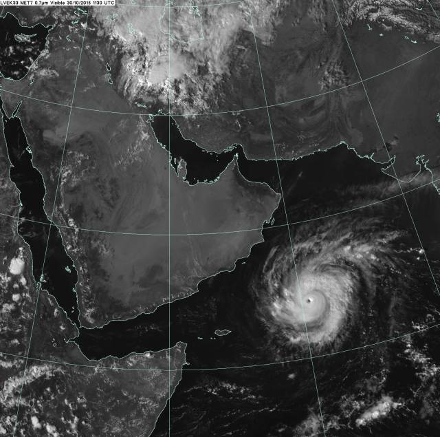 Meteosat visible satellite image showing Cyclone Chapala in the Arabian Sea at 1130 GMT on 30 November 2015.
