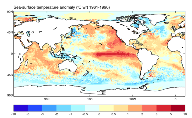 Global sea surface temperature anomaly 28 October 2015