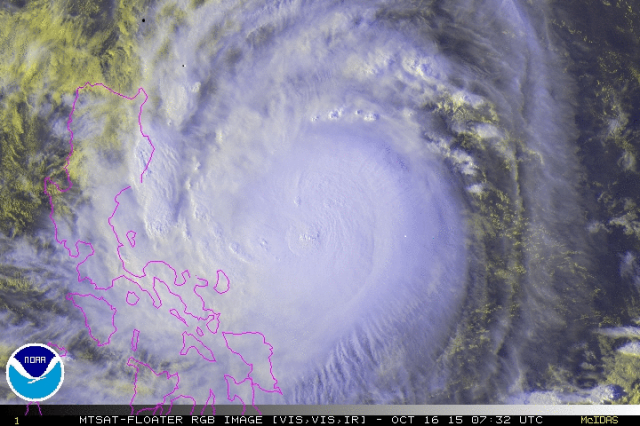 Typhoon Koppu at 0732 UTC on 16 October 2015 Image courtesy of NOAA
