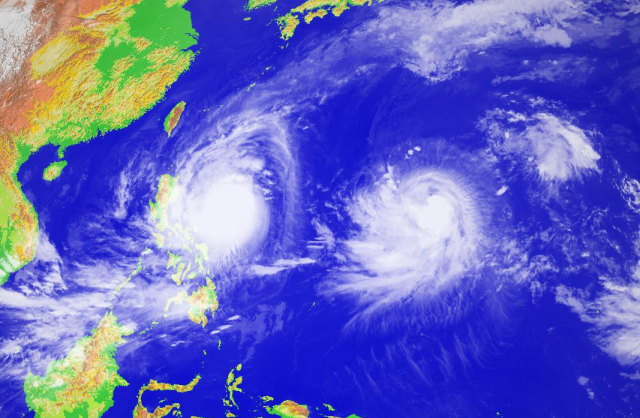 Typhoons Koppu (left) and Champi (right) at 0900 UTC on 16 October 2015 Image courtesy of the Japanese National Institute for Informatics