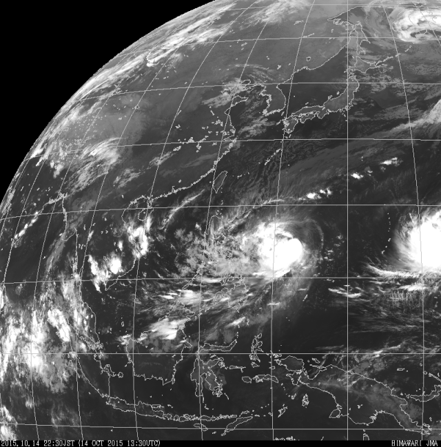 Infra red satellite image at 2.30pm showing Tropical Storm Koppu approaching the Philippines. To the east lies Tropical Storm Champi which is not expected to reach the Philippines. Credit: JMA.