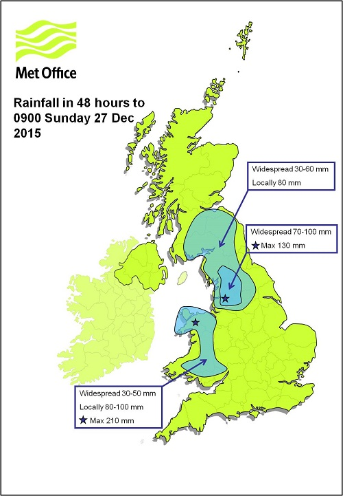 Map showing two day rainfall totals for Christmas Day and Boxing Day