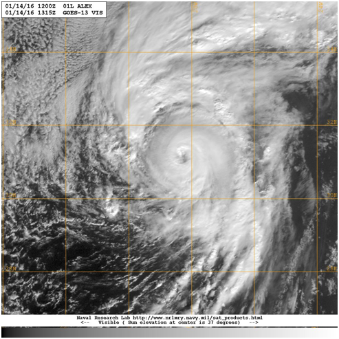 Hurricane Alex at 1315 UTC on 14 January 2016 Image courtesy of the US Naval Research Laboratory