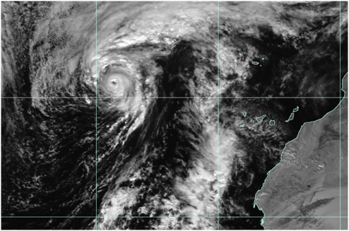 Hurricane Alex at 1330 UTC on 14 January 2016 Image courtesy of the US Naval Research Laboratory
