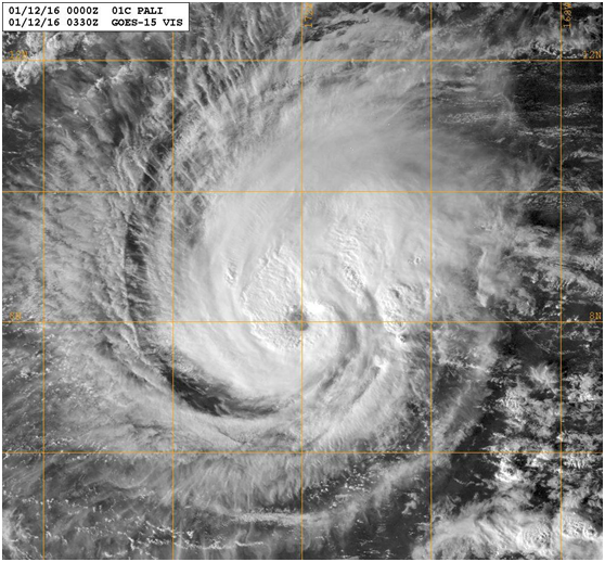 Hurricane Pali at 0330 UTC on 12 January 2016 Image courtesy of the US Naval Research Laboratory