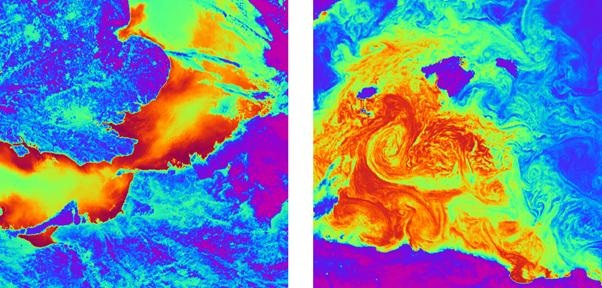 ATSR-1 thermal image of the English Channel and North Sea and ATSR-1 thermal image of the Mediterranean Sea (Imagery courtesy of Rutherford Appleton Laboratories)