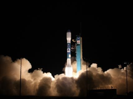 A modern satellite launch. S-NPP weather satellite blasts off in 2011 (courtesy of NASA).