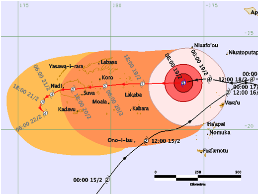 Cyclone Winston forecast from the Fiji Meteorological Service Red line indicates most likely forecast track