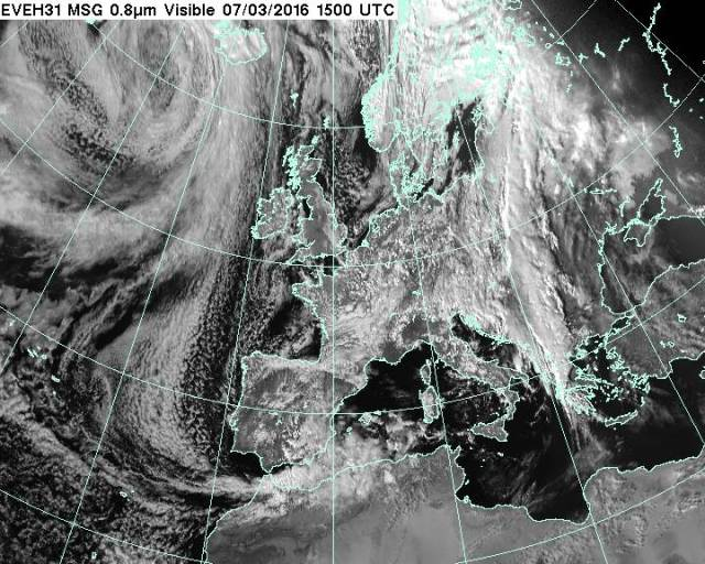 Visible satellite image of Europe at 3pm GMT. Image courtesy of MSG.
