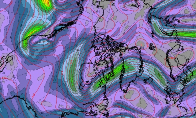 Jet stream winds and 300hPa contours for Friday night showing the amplified pattern from North America to NW Europe