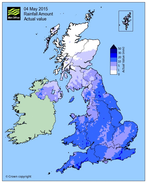 Rainfall May Day Bank Holiday 2015