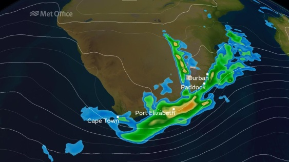 Rainfall affecting coastal areas of South Africa.