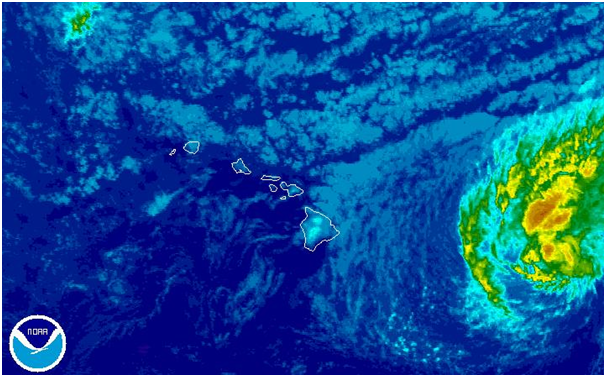 Tropical Storm Darby approaching Hawaii from the east at 0900 UTC 22 July 2016. Image courtesy of NOAA.
