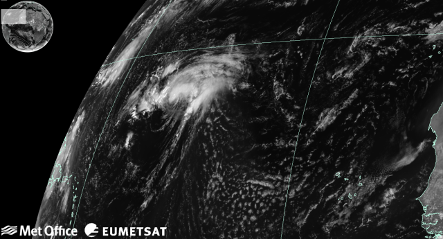 Tropical Storm Gaston in the North Atlantic at 1245 UTC 26 August 2016. Image courtesy of Met Office and EUMETSAT