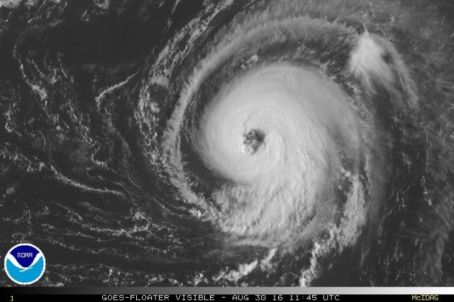 Hurricane Gaston seen in mid-Atlantic on 30 August 2016 (Image: NOAA)