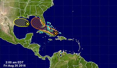 Tropical cyclone potential for the next 5 days. Image courtesy of the US National Hurricane Center