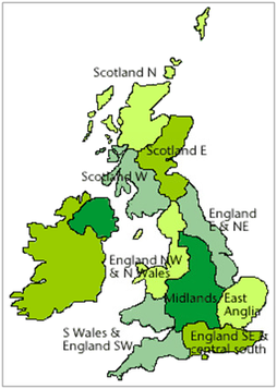 Climate regions across the UK. For the NFRR work, only regions in England and Wales were used.