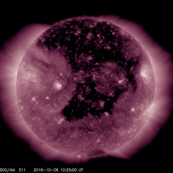 Larger coronal holes as seen on 26 October 2016. Image courtesy of NASA