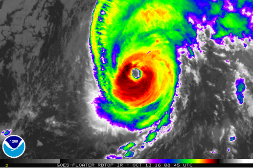 Hurricane Nicole on 13 October 2016 (credit: NOAA)
