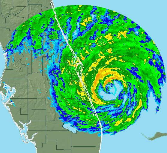 Hurricane Matthew rainfall radar image on 7 October 2016 (credit: NOAA)