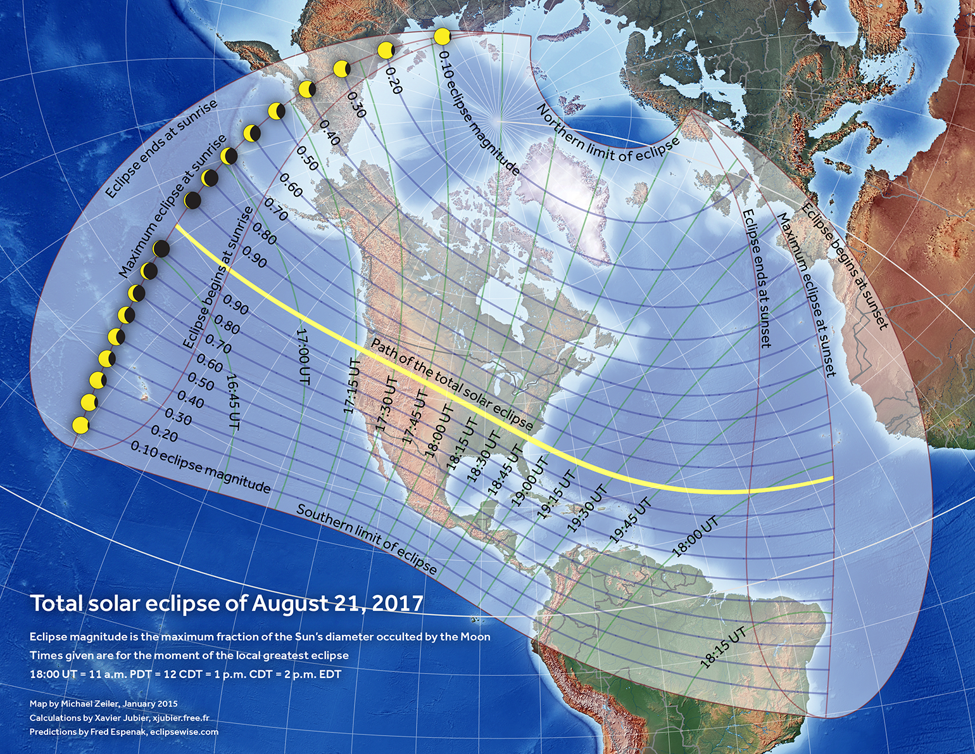 The Yellow Line Shows The Eclipse S Path Of Totality
