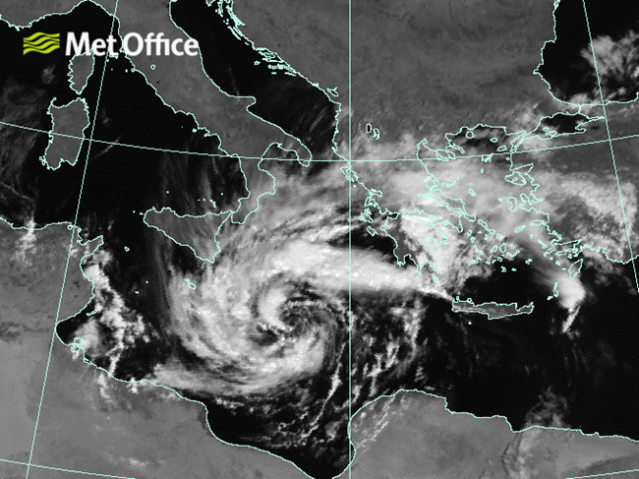 So-called Medicane over the Mediterranean on 28 September 2018