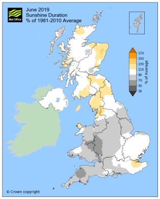 June Sunshine map