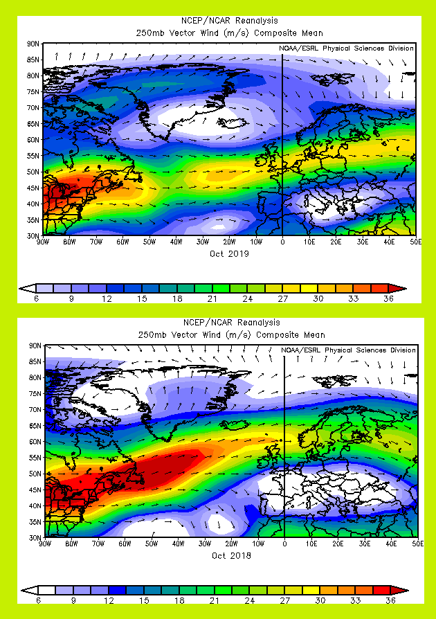 Jet stream positions for October 2019 and October 2018