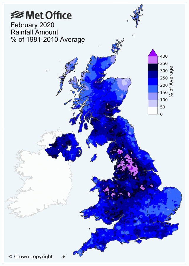 February 2020 UK rainfall map