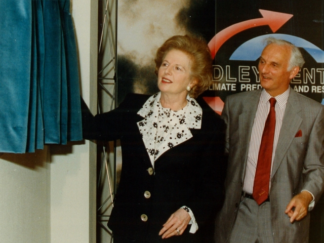 Prime Minister Margaret Thatcher opening the Met Office Hadley Centre with Sir John Houghton