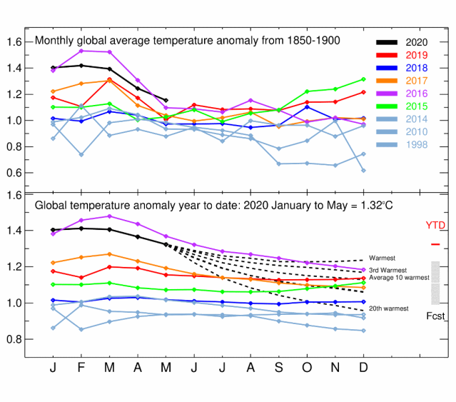 How does 2020 global temperature compare with previous globally warm years