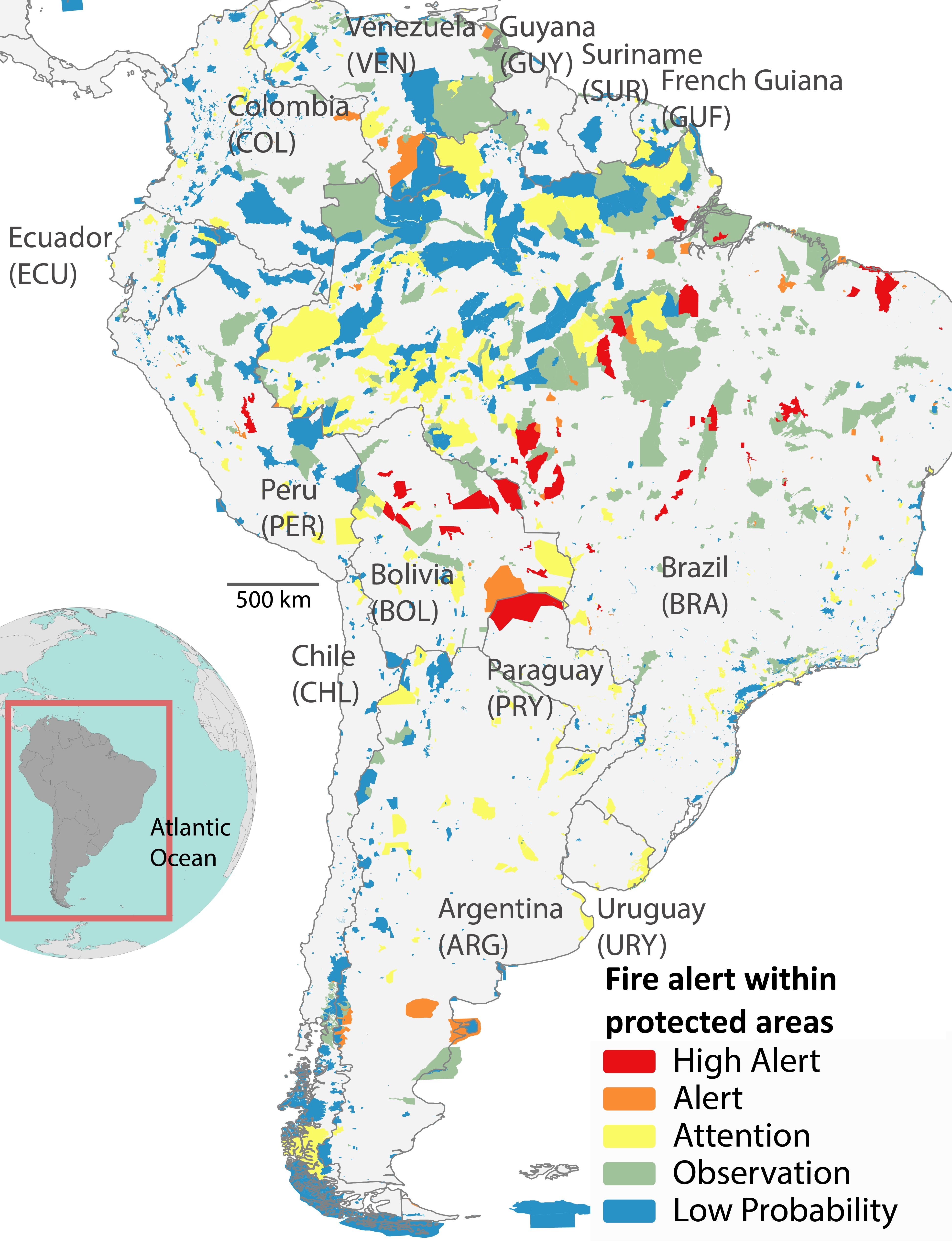 Map of South America showing status of fire alert within protected areas