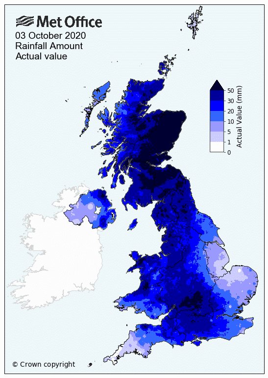 UK rainfall map 3 October 2020