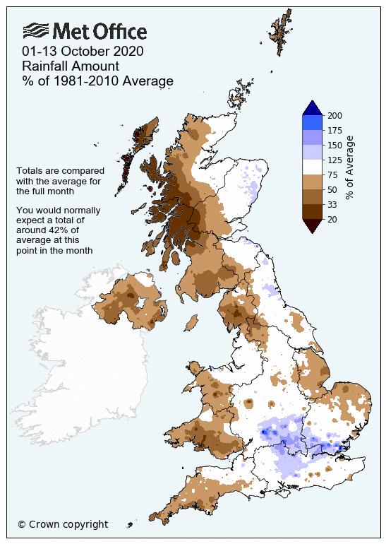 Average rainfall for October 2020