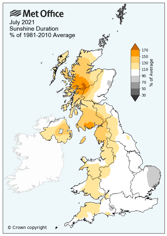 A map of the UK showing average sunshine duration for regions versus the long term average. The map shows many western areas had above average hours of sunshine in the month, especially western Scotland. Eastern areas have closer to average sunshine hours.